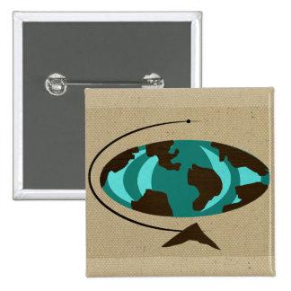 Mid Century Modern Globe Art Button