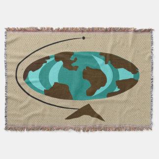 Mid Century Modern Globe Art Throw Blanket