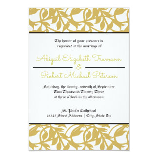 Mid-Century Modern Gold Leaf-3x5Wedding Invitation