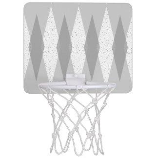 Mid Century Modern Grey Argyle Basketball Hoop