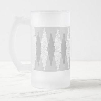Mid Century Modern Grey Argyle Frosted Glass Mug