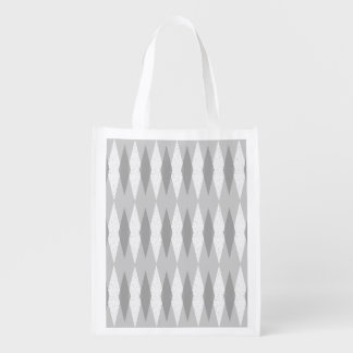 Mid Century Modern Grey Argyle Grocery Bag