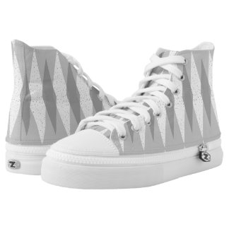 Mid Century Modern Grey Argyle High Top Shoes