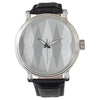 Mid Century Modern Grey Argyle Leather Watch