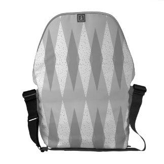 Mid Century Modern Grey Argyle Messenger Bag