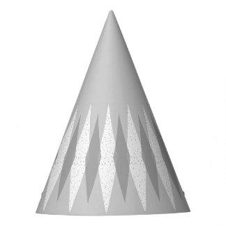 Mid Century Modern Grey Argyle Party Hat