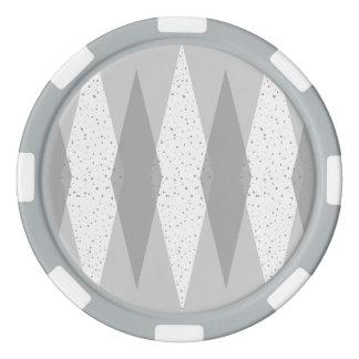 Mid Century Modern Grey Argyle Poker Chips