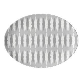 Mid Century Modern Grey Argyle Porcelain Platter