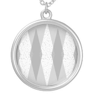 Mid Century Modern Grey Argyle Round Necklace