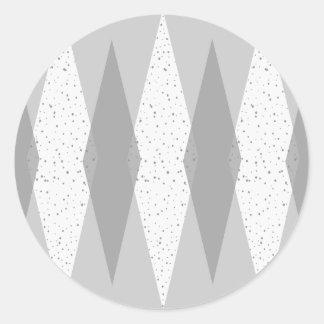 Mid Century Modern Grey Argyle Round Stickers
