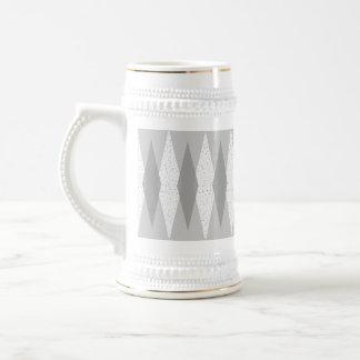 Mid Century Modern Grey Argyle Stein