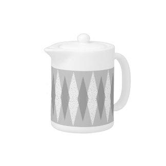 Mid Century Modern Grey Argyle Teapot