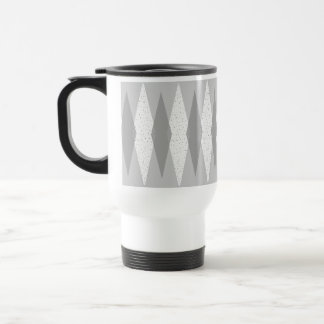 Mid Century Modern Grey Argyle Travel Mug