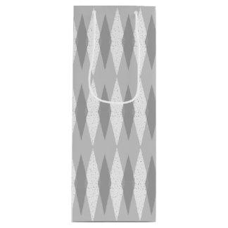 Mid Century Modern Grey Argyle Wine Gift Bag