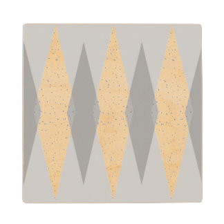 Mid Century Modern Grey Argyle Wood Coaster