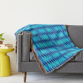 Mid Century Modern Leaves, Cobalt and Sky Blue Throw Blanket