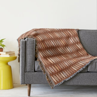 Mid Century Modern Leaves, Cocoa Brown and Beige Throw Blanket