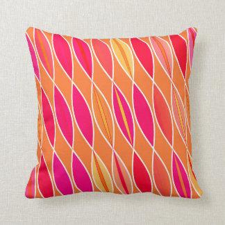 Mid Century Modern Leaves, Fuchsia Pink and Orange Throw Pillow