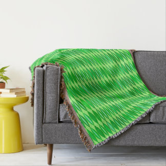 Mid Century Modern Leaves, Lime and Emerald Green Throw Blanket