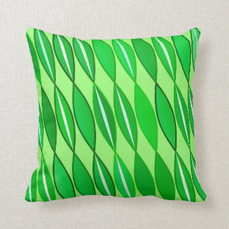 Mid Century Modern Leaves, Lime and Emerald Green Throw Pillow