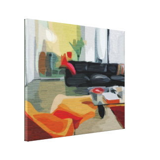 Mid Century Modern Living Room Retro Gallery Wrap Canvas