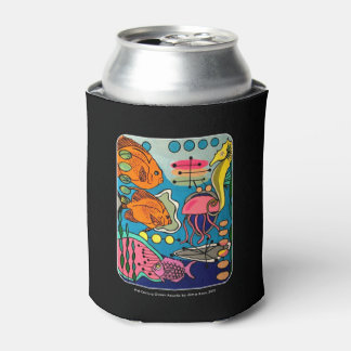 'Mid-Century Modern Ocean Aquatic' painting on a Can Cooler