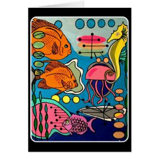 'Mid-Century Modern Ocean Aquatic' painting on a Card