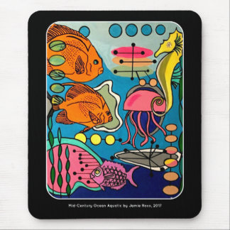 'Mid-Century Modern Ocean Aquatic' painting on a Mouse Mat