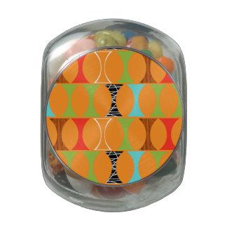 Mid Century Modern Orange Pattern Glass Candy Jar