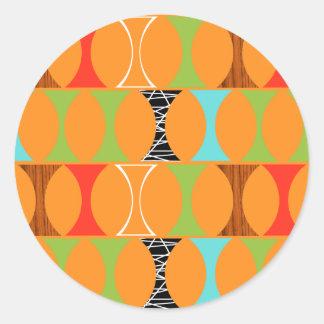 Mid Century Modern Orange Pattern Round Stickers
