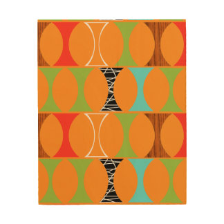 Mid Century Modern Orange Wood Wall Art