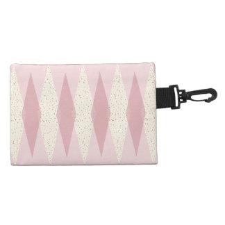 Mid Century Modern Pink Argyle Accessory Bag