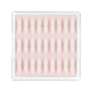 Mid Century Modern Pink Argyle Acrylic Tray