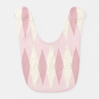 Mid Century Modern Pink Argyle Baby Bib