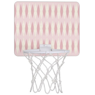 Mid Century Modern Pink Argyle Basketball Hoop