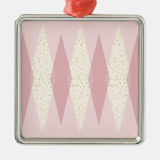 Mid Century Modern Pink Argyle Christmas Ornament