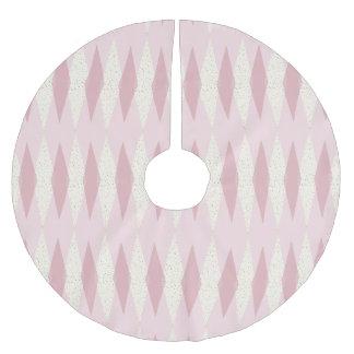 Mid Century Modern Pink Argyle Christmas Tree Skir Brushed Polyester Tree Skirt