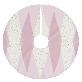 Mid Century Modern Pink Argyle Christmas Tree Skir Brushed Polyester Tree Skirt