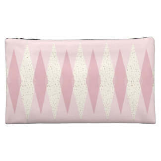 Mid Century Modern Pink Argyle Cosmetic Bag