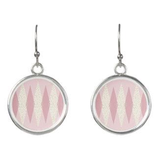 Mid Century Modern Pink Argyle Drop Earrings