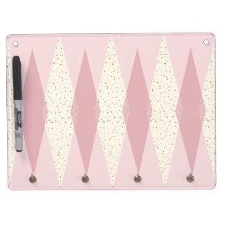 Mid Century Modern Pink Argyle Dry Erase Board