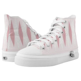 Mid Century Modern Pink Argyle High Top Shoes Printed Shoes