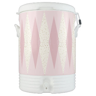 Mid Century Modern Pink Argyle Igloo Cooler