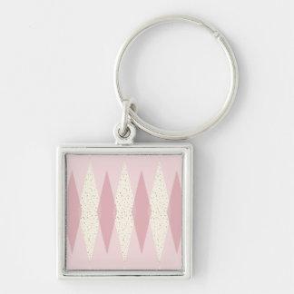 Mid Century Modern Pink Argyle Keychain