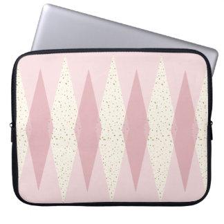 Mid Century Modern Pink Argyle Laptop Sleeve