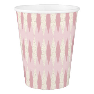 Mid Century Modern Pink Argyle Paper Cups