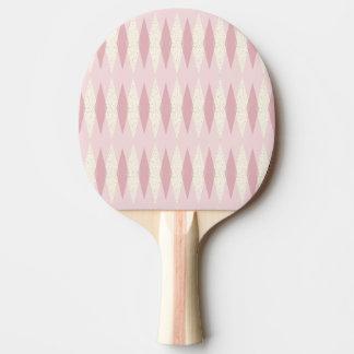 Mid Century Modern Pink Argyle Ping Pong Paddle