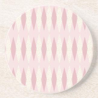 Mid Century Modern Pink Argyle Sandstone Coaster
