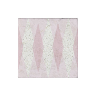 Mid Century Modern Pink Argyle Stone Magnet