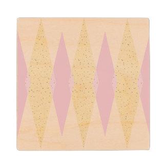 Mid Century Modern Pink Argyle Wood Coaster